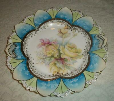 """RS Prussia 10 3/4"""" Handled Cake Plate Yellow Roses Fan Border"""