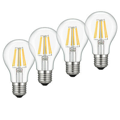 4x 6W A19 Edison LED Bulb Vintage Light 2700K Soft White Lamp Filament Dimmable