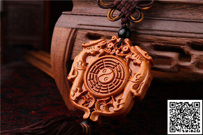 Rose Wood Carving Chinese Taoism Symbol Gossip Dragon Car Pendant Amulet Wooden