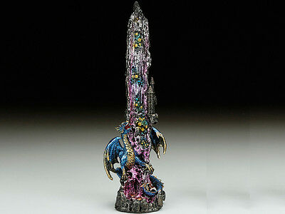 "Metallic Purple Blue Mythical Fantasy Dragon Upright 10.5"" Incense Burner"