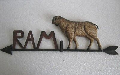Vintage Old Iron Ram Weather Vane , Fully Embossed .