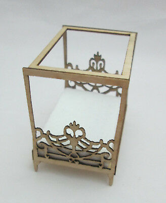 Dollhouse Miniature 1:48th Scale Laser Cut Wood Double Canopy Bed - Gold