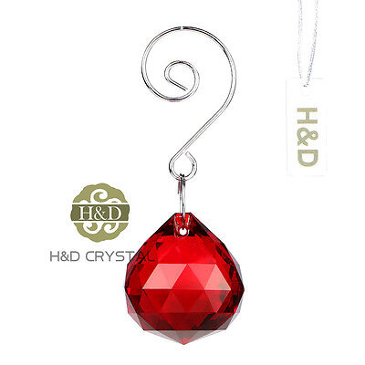 1pc Hanging Red Crystal Ball Prisms Chandelier Feng Shui Lamp Drop Pendants 30mm