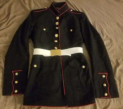 USMC US Marine Corp Dress Blues 38L Coat Jacket Marines Uniform With Belt