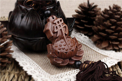 Rose Wood Carving Chinese Buddhist Symbol Buddha Car Pendant Amulet Wooden Lotus
