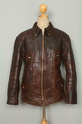 Vtg 1940s GOATSKIN Leather Sports Half Belt Motorcycle Jacket Medium