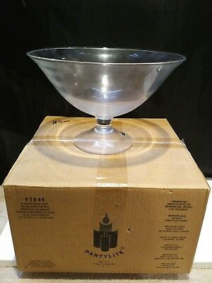 Large Partylite Clear Gl Pedestal Bowl Floating Candle Accessories