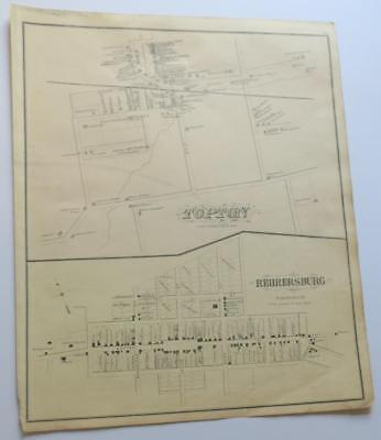 ORIGINAL 1876 Map TOPTON & REHRERSBURG,Berks County,PA,OWNERS,BUSINESSES,STREETS