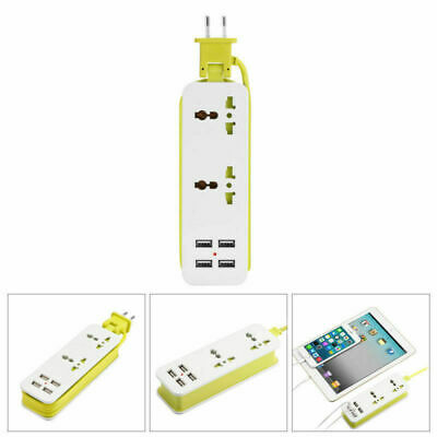 Electrical Socket Power Adapter Extension Cord Outlet 2 Plug Sockets+4 USB Port