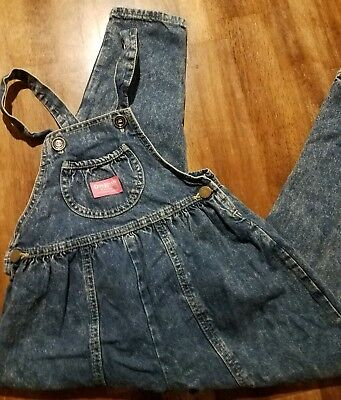 Vintage Oshkosh B'GOSH acidwash denim overalls 6x vestbak pink label bubble girl