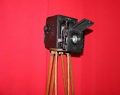 "ANTIQUE SPECIAL RUBY CAMERA TRIPOD ""1920"":  Black Camera with Wood Tripod"