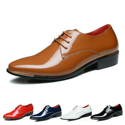 AU Men's Pointed Patent Leather Smart Business Formal Dress Lace Up Shoes