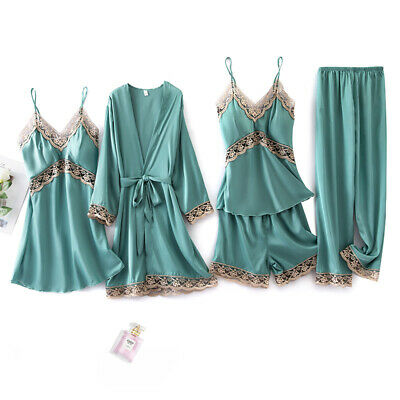 5 Pieces Set Women Lady Silk Satin Pajamas Pyjama Sleepwear Nightwear Loungewear