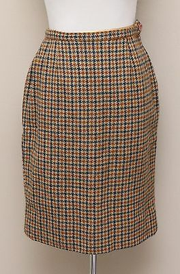 42c1f7ddcd Vintage 1960s Womens Size 6 Gold/Navy/Rust Houndstooth Check Wool Pencil  Skirt