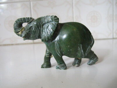 Chinese Hand Carved Jade Green Stone Elephant - Asian Figurine Statue