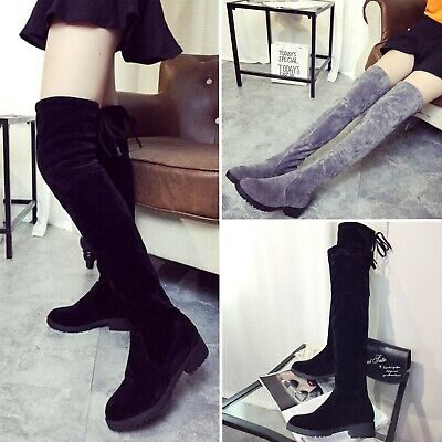 AU Women Over Knee Suede Long Boots Biker Wedge Round Toe Thigh High Flat Shoes
