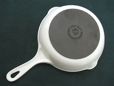 "Le Creuset #20 Cast Iron 7.5"" Fry Pan White With Gray, Vintage Traditional Style"