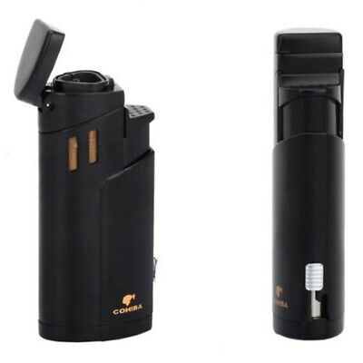 Exquisite 3 Torch Jet Flame Cigar Metal Lighter Black With Punch Cohiba