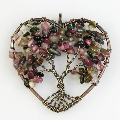 Tourmaline Chips Beads Tree of Life Chakra Copper Heart Pendant For Necklace