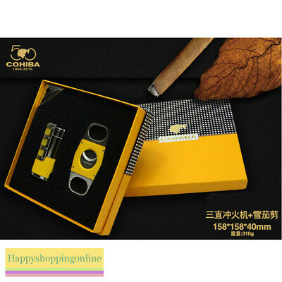 Cohiba Yellow Cigar Lighter 3 Torch Jet Flame Punch Smooth Cutter Gift Set