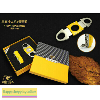 Yellow Metal 3 Torch Jet Flame Cigar Lighter Punch Smooth Cutter Set Cohiba