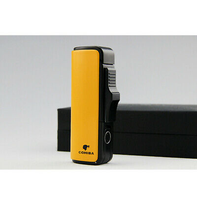 COHIBA Metal Windproof 3 Torch Jet Flame Yellow Cigar Lighter Refillable