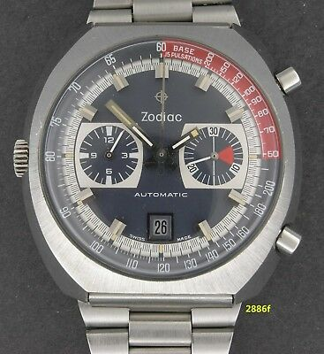 Vintage & awesome 44 mm Zodiac Automatic Chronograph, Cal 12/90 all original