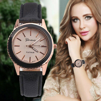 Luxury Fashion Leather Band Analog Quartz Vogue Wrist Watch Womens Watches Mens