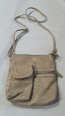 Crocodile Leather Imitation Purse Crossbody Unbranded adjustable strap ivory