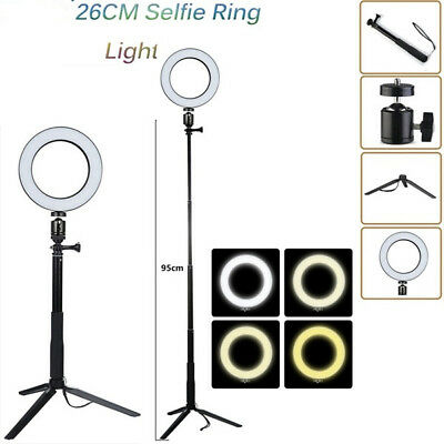 26CM Dimmable Selfie LED Ring Light Photography Photo Camera Studio + Tripod New