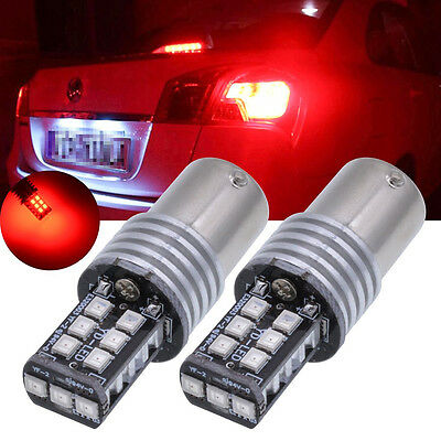 1Pair Car RED 1156 Ba15s 15 SMD 2835 LED 12-24V Canbus Error Free CAR Rear Light