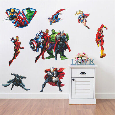 Avenger Iron Man Hulk Justice League Wall Stickers Kids Nursery Boys Decor