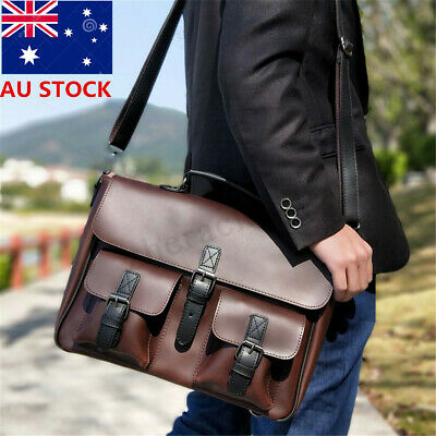 Men Large PU Leather Handbag Briefcase Messenger Laptop Satchel Shoulder Bag New