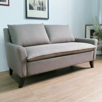 Fabric Sofas 2 Seater Sofa in Grey Linen Couch with Armrest Comfortable Modern
