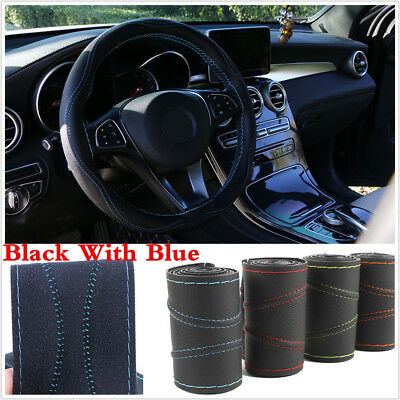 Universal Micro Fiber Leather Car Steering Wheel Covers With Blue Line Needle