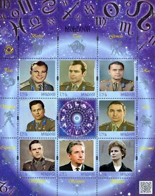 Moldova 2018, Space, First cosmonauts, Gagarin, sheetlet of 8v