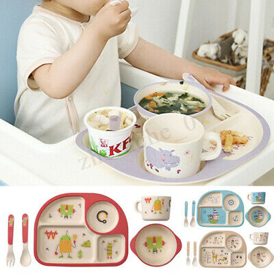 5X/Set Bamboo Fiber Baby Plate Bowl Cup Forks Spoon Kids Food Feeding Tableware