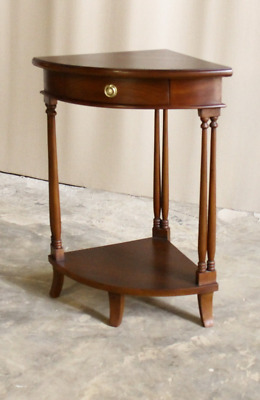 Solid Mahogany Corner Table / Side Table 1 Drawer Antique Reproduction ELS004
