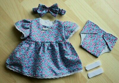 My First Baby Annabell/14 inch baby doll 4 Piece Blue Floral Dress Set (5)