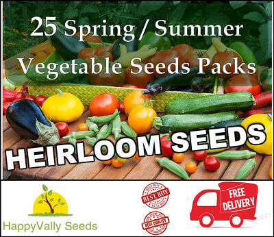 Mixed Seeds Spring Summer Heirloom Vegetable Seeds  Bulk Value Garden 25 Packs