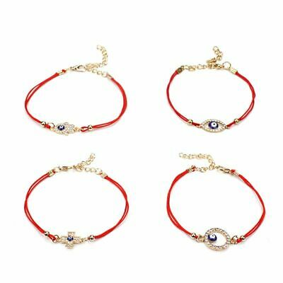 Full Crystal Evil Eyes Lucky Hamsa Evil Protect Kabbalah Red String Bracelets