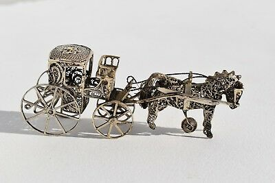 Fantastic Antique Miniature Sterling Silver Filigree Horse Drawn Carriage