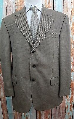 Savile Row Gold 46R Wool And Silk Brown and Black Houndstooth 3 Button  Blazer