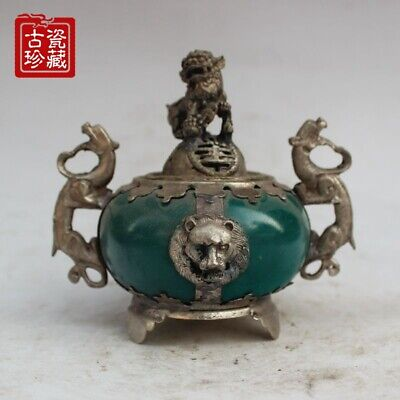 Chinese Silver Dragon Inlaid Jade Handmade Carved Lion Incense Burner