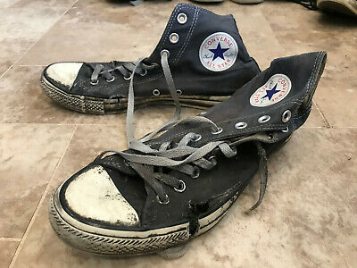 Converse High Tops Black Canvas Upper White Rubber Uk Size 8 Trashed Condition