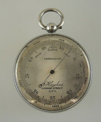 Rare English Silver Double Sided Barometer and Pedometer. Birmingham 1892