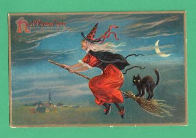 1908 Tuck Halloween Postcard Witch & Black Cat Fly On Broom Crescent Moon