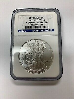 2008 1 oz AMERICAN SILVER EAGLE NGC EARLY RELEASES GEM UNCIRCULATED