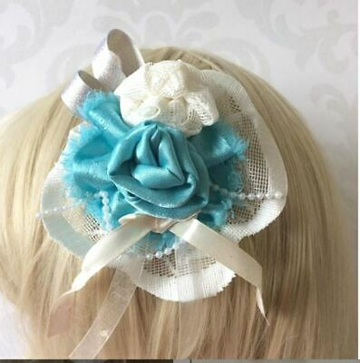 Jade Turquoise Green Double Rose Lace Flower Hair Clip wedding accessory  brooch