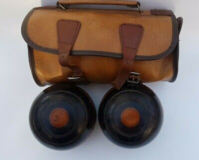 Vintage Pair Of Lignum Vitae Crown Green Bowling Balls With Leather Bag